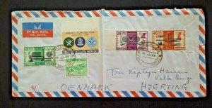 1966 Karachi Pakistan To Hjerting Denmark Air Mail Cover