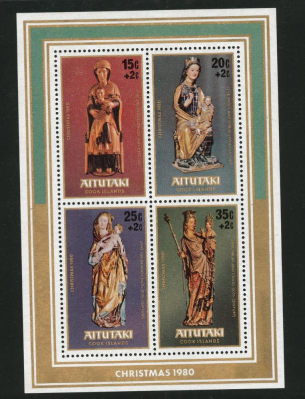 Aitutaki Cook Islands Scott B33 Christmas 1980 Madonna sheet
