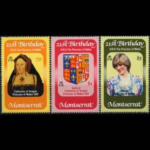 MONTSERRAT 1982 - Scott# 484-6 Diana Birthday Set of 3 NH