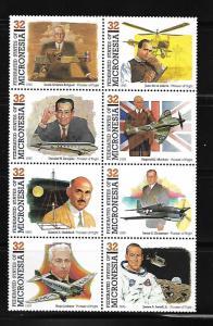 MICRONESIA, 210 (a-h) , MNH, PIONEERS OF FLIGHT
