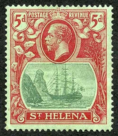 St Helena SG103d 5d Green and Carmine Red/Green (gum bend) M/Mint