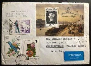 1990 Hungary Penny Black Souvenir Sheet Airmail Cover To Jacksonville FL USA