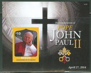 BEQUIA  2013  CANONIZATION OF POPE JOHN PAUL II S/S  II IMPERF MINT NH