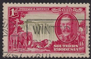 Southern Rhodesia 1935 KGV 1d Silver Jubilee used SG 31 ( H1055 )