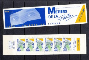 FRANCE SC# B613A BOOKLET STAMP DAY PANE OF 6+2 LABELS UNFLOLDED MNH