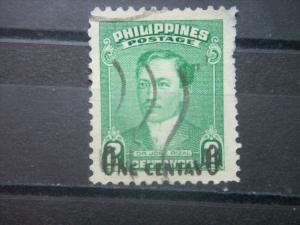 PHILIPPINES, 1950, used 1c on 2c, Rizal Scott 550