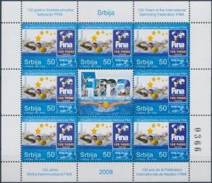 Serbia stamp Centenary of International Swimming Federation mini sheet WS198680