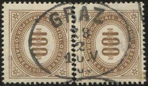 AUSTRIA 1899 Postage Due Sc J33  100h (severed pair)  Used VF Graz cancel