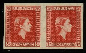 NEW ZEALAND OFFICIAL 1954 QE 3d imperf proof on gummed paper MNH...........23714