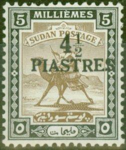 Sudan 1941 4 1/2p on 5m Olive-Brown & Black SG79 Fine Lightly Mtd Mint (2)