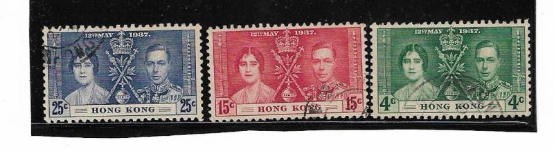 HONG KONG 1937 3 STAMPS SET VERY FINE USED