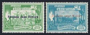 Burma 173-174,MNH.Michel 174-175. FAO 1963.Rice plantation,Oxes.Overprinted.