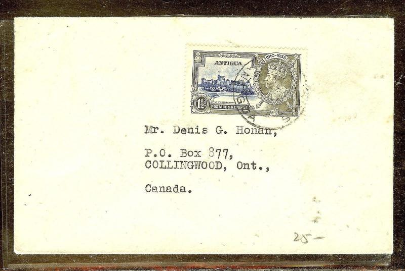 ANTIGUA (P2110B)  SILVER JUBILEE 1 1/2D SINGLE FRANK TO CANADA