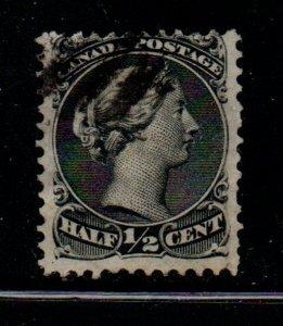 Canada Sc 21 1868 1/2c black large Queen Victoria stamp used