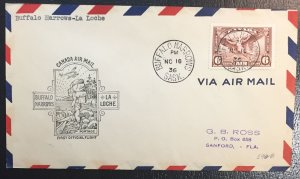Canada #C5 Airmail (SG# 355) Daedalus Allagory of Flight 6c FOF ON COVER