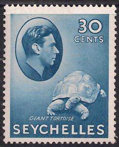 Seychelles 1938 - 49 KGV1 30ct Blue Giant Tortoise MM SG 142a  ( L1417 )