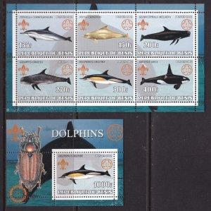Benin, Fauna, Dolphins, Scouting MNH / 2002