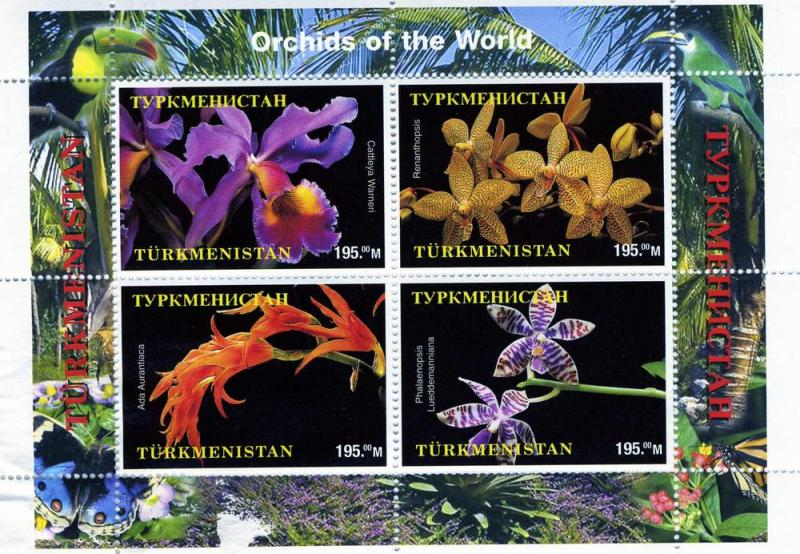 TURKMENISTAN 1998 Orchids of the World Sheet (4) Perforated mnh.vf