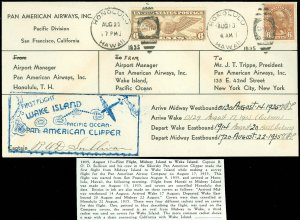 8/22/35 PAN AM, FIRST TRIP WAKE ISLAND MIDWAY HAWAII Pilot R O D SULLIVAN Signed