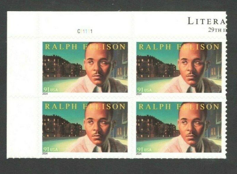 4866 Ralph Ellison Top Plate Block Mint/nh FREE SHIPPING