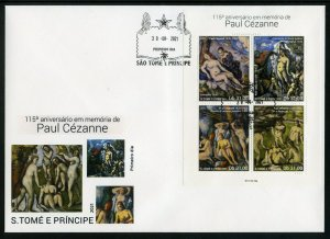 SAO TOME 2021 115th MEMORIAL OF PAUL CEZANNE PAINTINGS SHEET FIRST DAY COVER