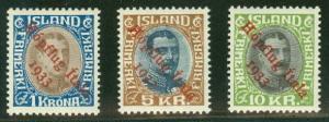 ICELAND #C12-14 (165-7) Complete HOPFLUG set, og, NH, Pollak cert Scott $5,225