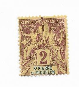 Saint Pierre & Miquelon #61 MH - Stamp - CAT VALUE $1.90