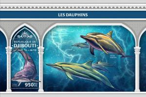 DJIBUTI - 2018 - Dolphins - Souv Sheet - M N H