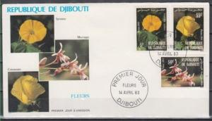 Djibouti, Scott cat. 558-560. Local Flowers issue. First day cover.