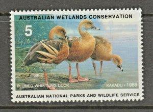 Australia Wildlife fund revenue fiscal stamp 2-27-  gum- mint-mnh- Ducks