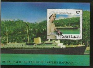 SAINT LUCIA1986 60TH BIRTHDAY QUEEN ELIZABETH II, $7 2ND ISSUE SOUVENIR SHEET