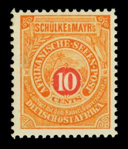German EAST AFRICA 1892 SEAPOST - Schulke & Mayr's LOCALS  10c org - mint MNH**