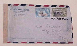TRINIDAD & TOBAGO APO 1101 CENSORED COVER UNLISTED PORT OF SPAIN 1942 JAN 22