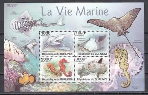 Burundi MNH S/S Marine Life Shark Seahorse Fish Shells 2011