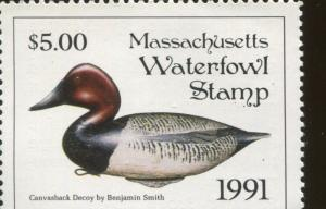 MASSACHUSETTS #18 1991 STATE DUCK CANVASBACK DECOY by Benjamin Smith