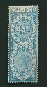 INDIA QV TELEGRAPH STAMPS 4AS MINT