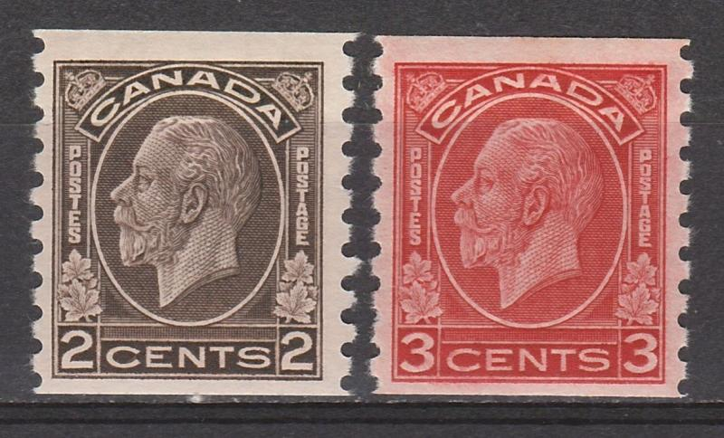 CANADA 1932 KGV COIL 2C AND 3C IMPERF X PERF 8.5