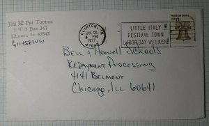 US Event Slogan Cancel Ad Little Italy Festival Town 1977 Clinton IN Cover