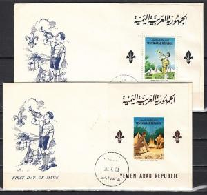 Yemen Arab Rep., Mi cat. 376, BL28-BL29. Scouting s/shts on 2 First day covers.