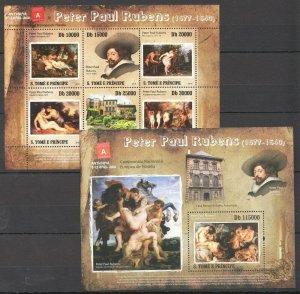 BC827 2010 S.TOME & PRINCIPE ART PAINTINGS PETER PAUL RUBENS BL+KB MNH