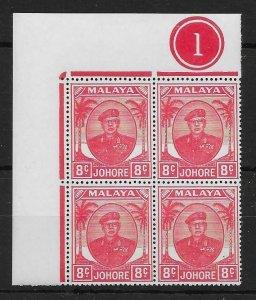 MALAYA JOHORE SG138 1949 8c SCARLET PL.BLOCK OF 4 MNH