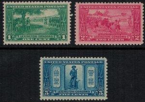 U.S. #617-9* NH Lexington-Concord Issue CV $39.00