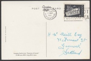 CANADA GB 1961 postcard 5c - GREENOCK Paquebot / Posted at Sea machine......T264
