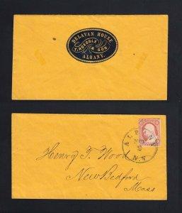 NEW YORK: Albany, NY 1850's #11 ALBANY HOUSE Hotel CAMEO on Flap