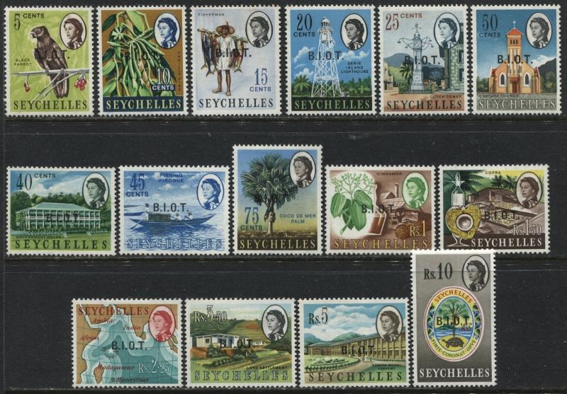 QEII 1968 British Indian Ocean Territory overprinted complete set mint o.g.