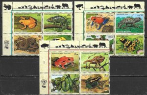 United Nations 911a, G 456a, V 379a 2006 Endangered Species Block MNH (lib)