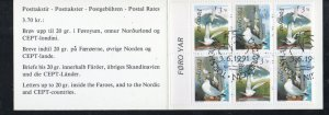 Faroe Islands Sc 225a 1991 Birds  stamp booklet pane used in booklet