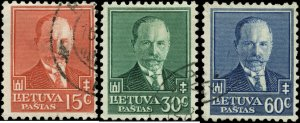Lithuania Scott #283 - #285 Complete Set of 3 Used