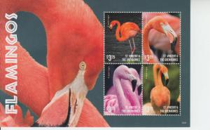 2016 St Vincent & Grenadines Flamingos MS4 (Scott 4024) MNH