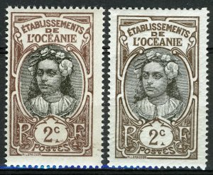 French Oceania 1913, 2c Tahiti girl, Shades Yv 22 MNH